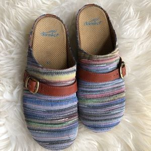 Dansko Fabric Striped Buckle Espadrille Clogs 41